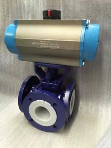 Q645F46-25C氣動T型三通襯氟球閥